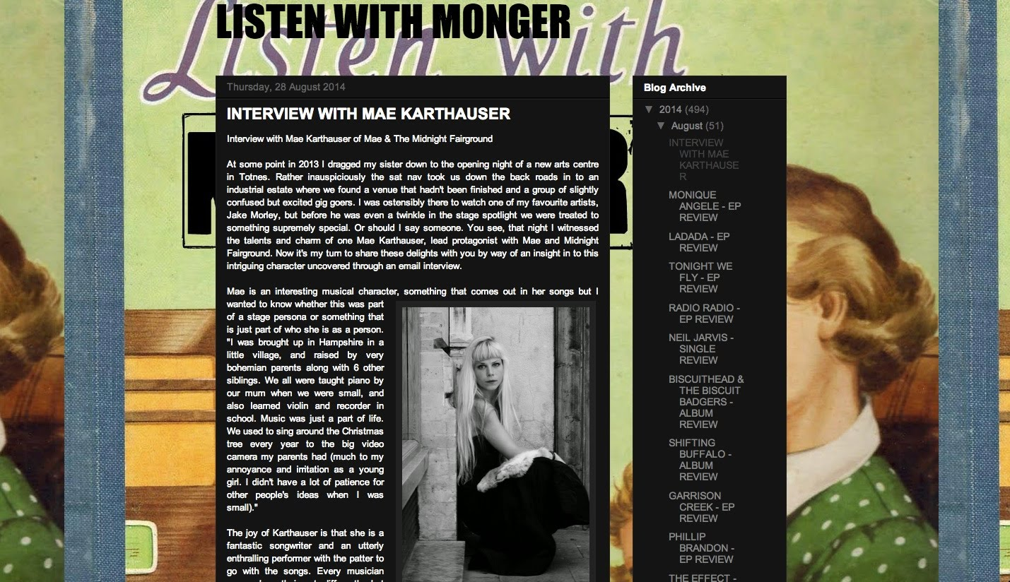 http://listenwithmonger.blogspot.co.uk/2014/08/interview-with-mae-karthauser.html